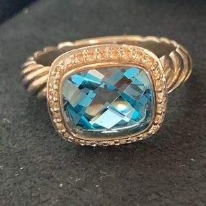 David Yurman Noblesse Blue Topaz Ring Diamonds 7